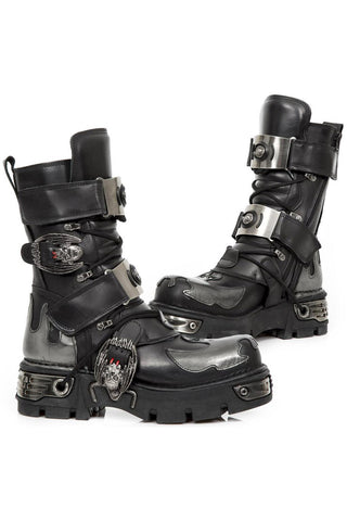 New Rock Silver Flame Bat Boots M.195-S2