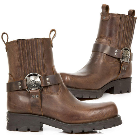 New Rock Brown Motorcycle Ankle Boots M.7605-S20