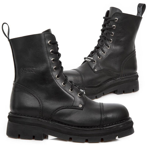 New Rock Black Combat Boots M.NEWMILI083-S14