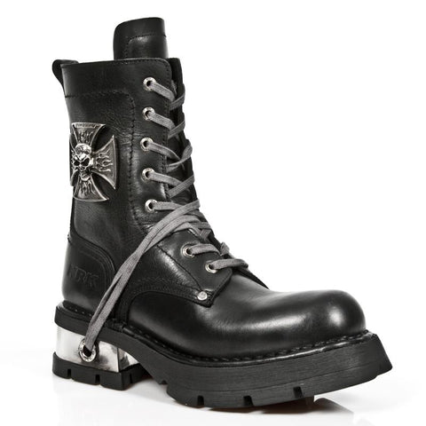 New Rock Black Leather Biker Boots with Skull Cross Badge M.1623