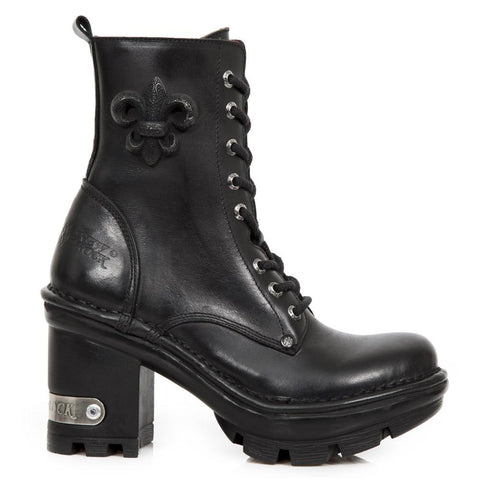 New Rock Black Leather Boots, NEOTYRE07, Neotyre Sole