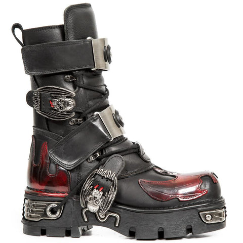 New Rock Dark Red Bat and Flames Boots, M.195-S1
