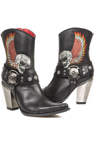 New Rock Ladies Cowboy Boots with Winged Skull M.BULL006-S1