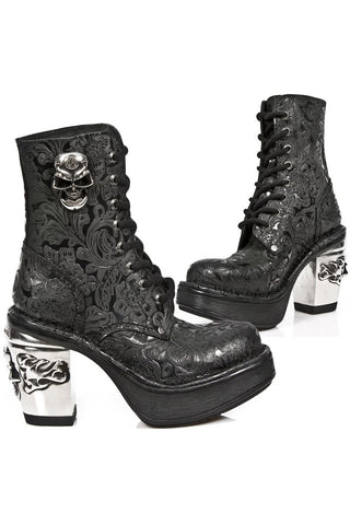 New Rock NRK Skull Vintage Flower Boots M.8358-S1