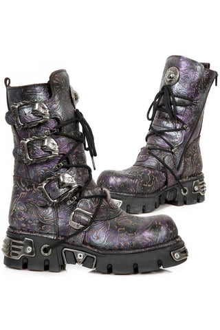 New Rock Purple Vintage Flower Reactor Boots M.391-S5