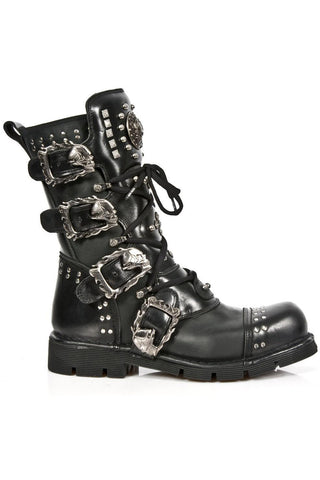 New Rock Studded Black Boots M-1474-S1