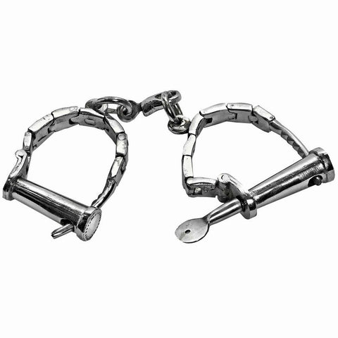 Nickel Steel Authentic Adjustable Twist Key Wrist Shackles Cuffs - Fetshop