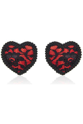 Red Black Lace Heart Pasties