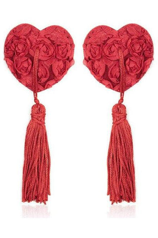 Red Rose Heart Nipple Tassles