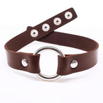 Brown Leather Look O-Ring Collar