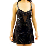 Sexy PVC and Fishnet Dress with Shoulder Straps and Choker - Fetshop