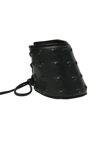 Black Leather Lace Up Studded Gauntlet