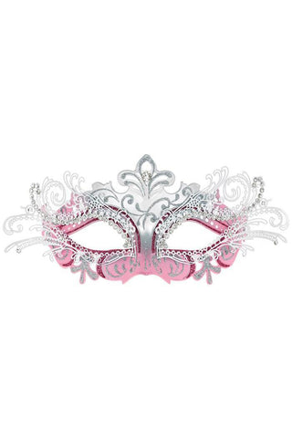 Venetian Mask -  Luxury Metal Filigree Mask in Pink and Silver