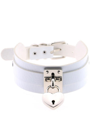 White Heart Padlock Collar