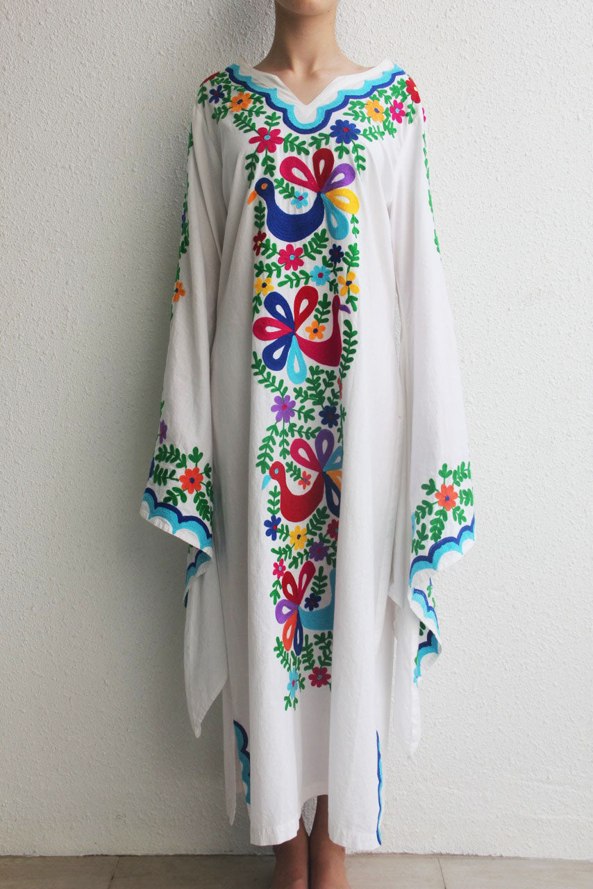 Lilac White Cotton Kaftan