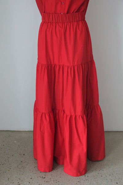 Red Long Fairwell Skirt