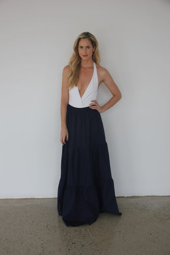 Navy Long Button Skirt