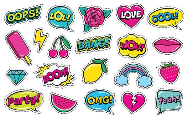 Cartoon style stickers, LOL stickers, OMG stickers