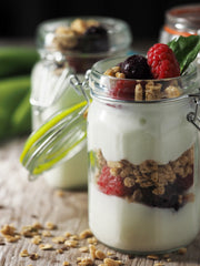 Fruit and yogurt parfait for lunch for busy moms