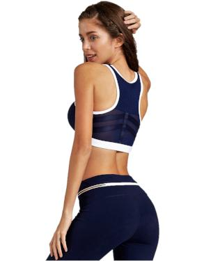Navy Refresh Zipper Sports Bra