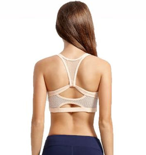 Peach and Navy Beehive Sports Bra