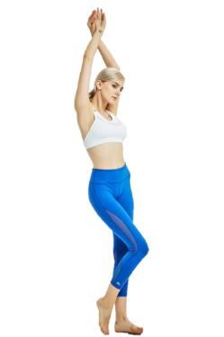 Blue yoga leggings pants capri