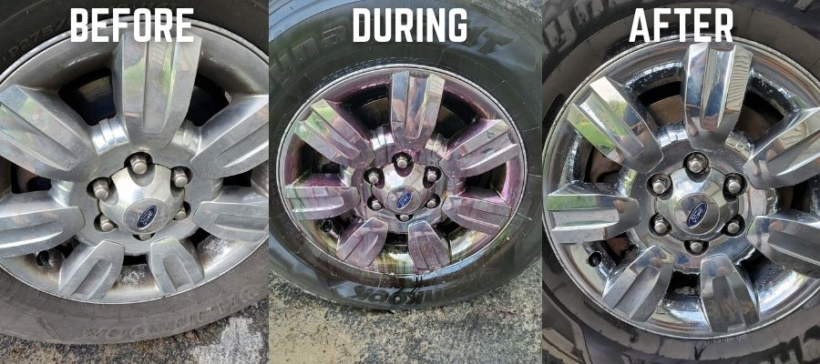 Iron Remover before and after shots from a wheel with lots of brake dust buildup