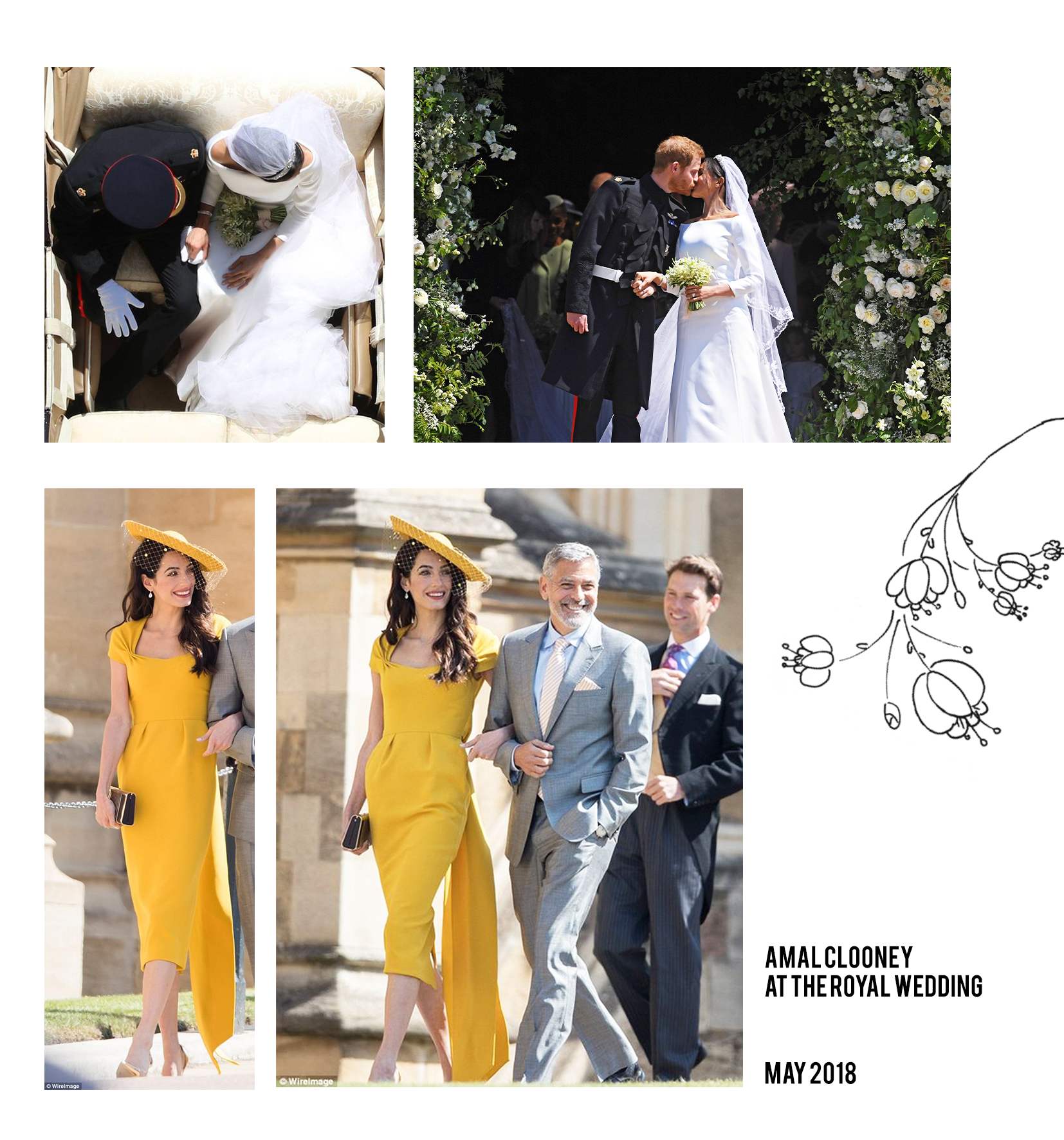 Amal Clooney in yellow dress at royal wedding 2018