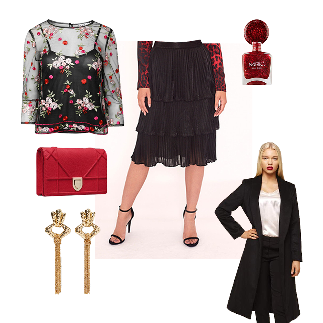 Styled women's fashionable outfit featuring floral embroidered sheer top long sleeve top, black ruffle pleated skirt and longline tailored coat in black