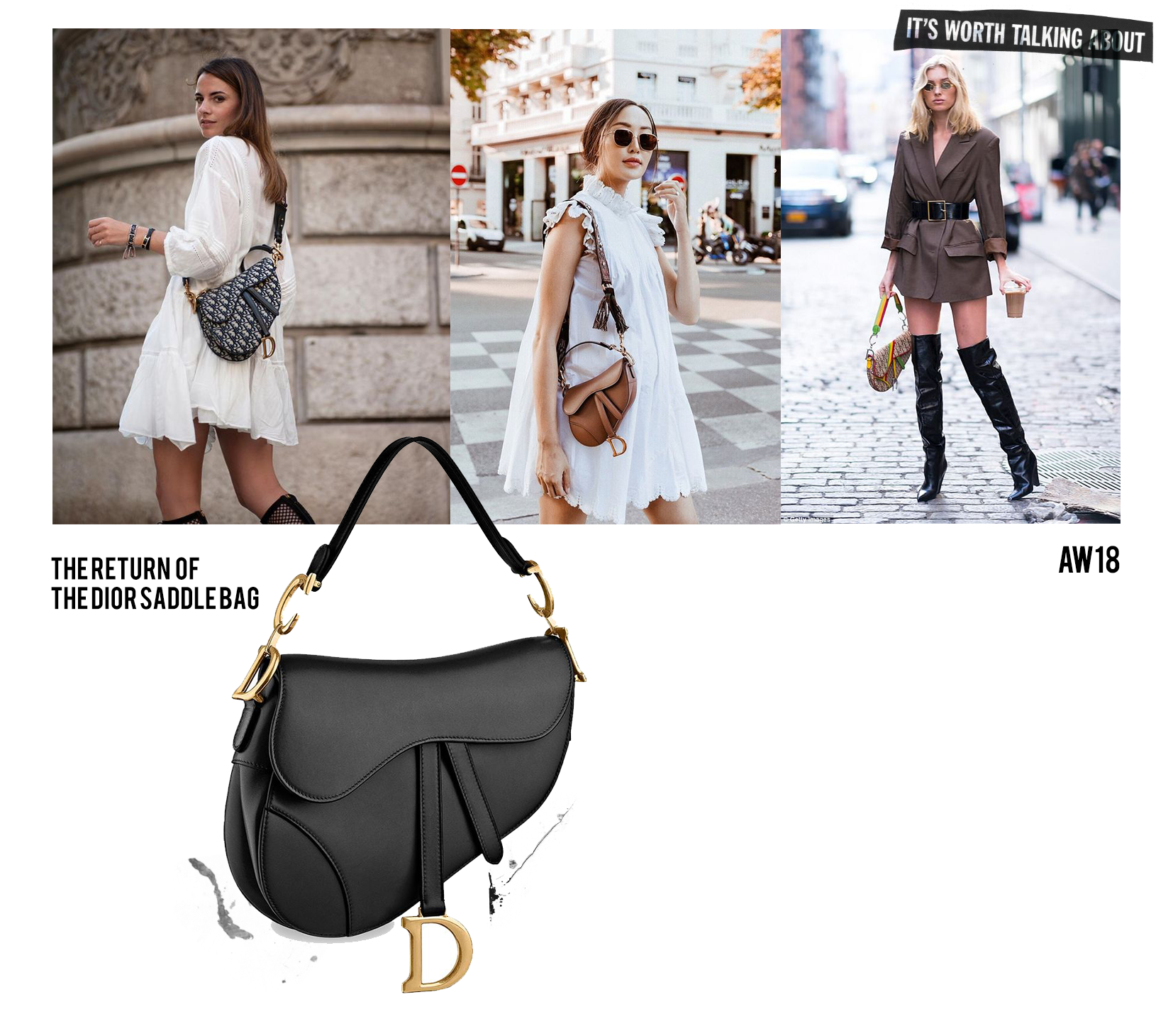 Dior saddle bag worn by bloggers in 2018