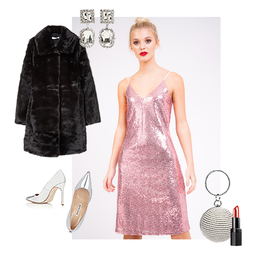 Model wears spaghetti strap easy slip on all over pink sequin midi party dress