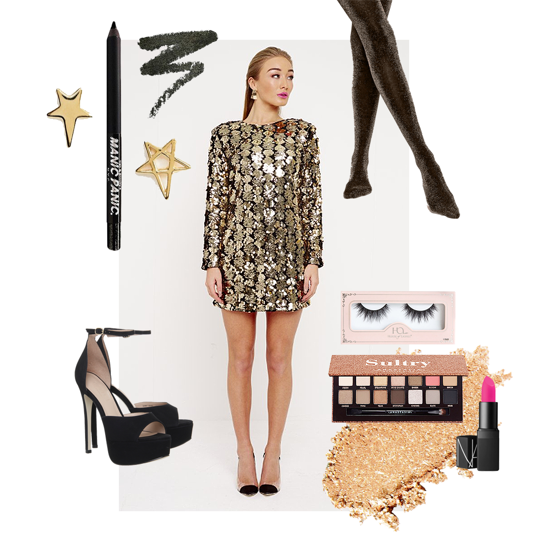 Sparkly gold party sequin mini dress with long sleeve