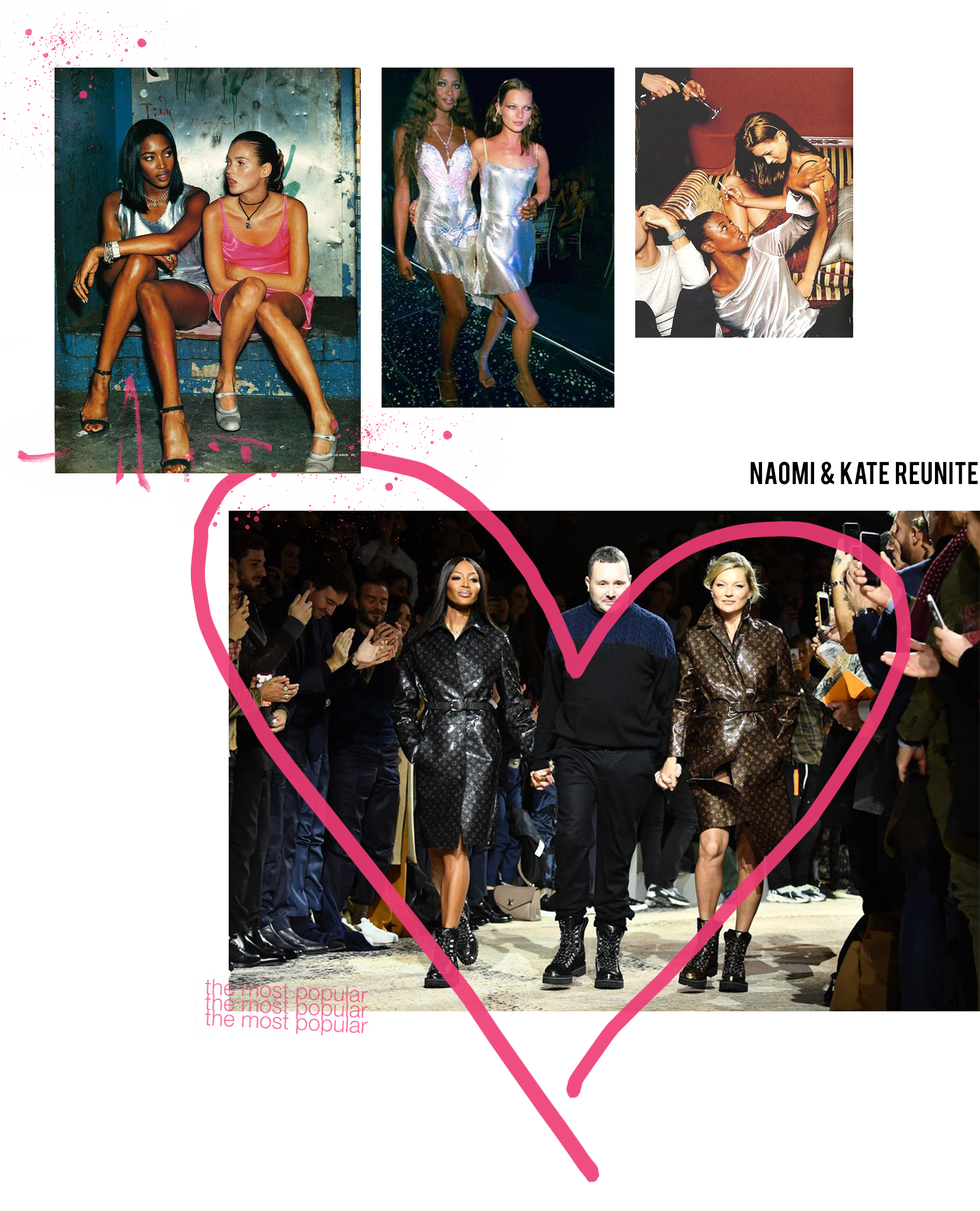 Image collage of Naomi Campbell and Kate Moss modelling