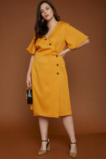 UNIQUE21 HERO Mustard Wrap Around Button Front Dress