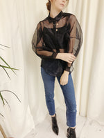 Organza Shirt With Balloon Sleeves