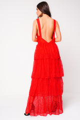 Red Lace Frill Maxi Dress