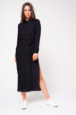 Black Shirt Dress With Slit