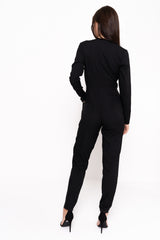 Long Sleeve Wrap Around Jumpsuit