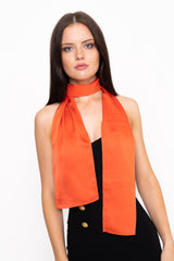 Orange Tie Neck Scarf