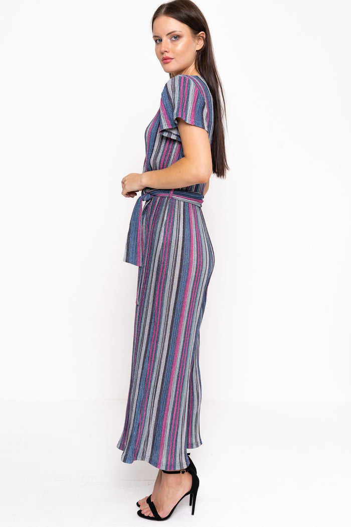Striped Glittery Wrap Over Jumpsuit