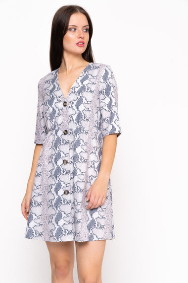 Tailored Button Front Snake Print Dress