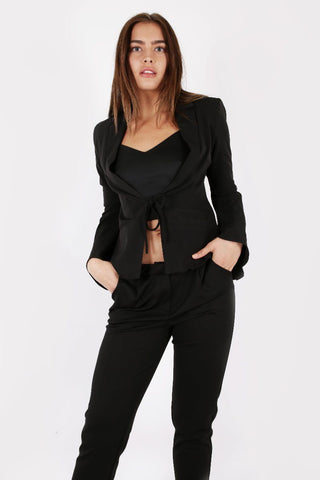Model Against Plain Background Wearing Bell Sleeve Blazer in Black Front Image Cropped