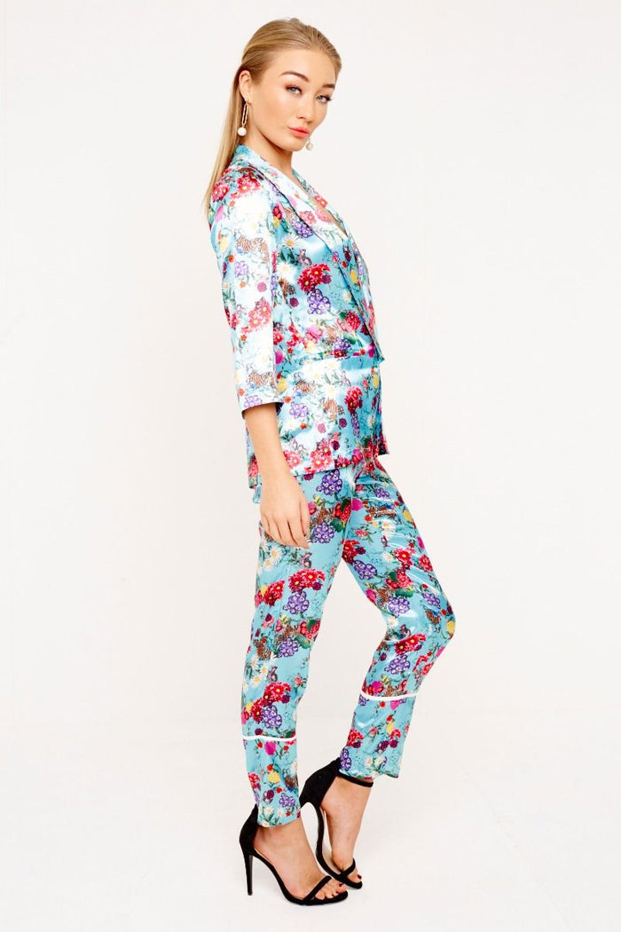 BLUE PRINTED SATIN TROUSERS