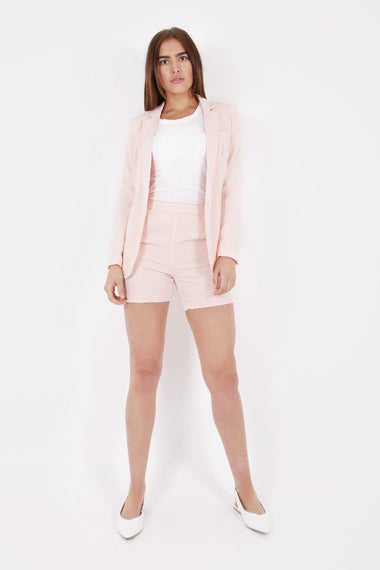 BLUSH HIGH WAIST TAILORED SHORTS