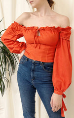 Sunset Orange Linen Tie Sleeves Bardot Top