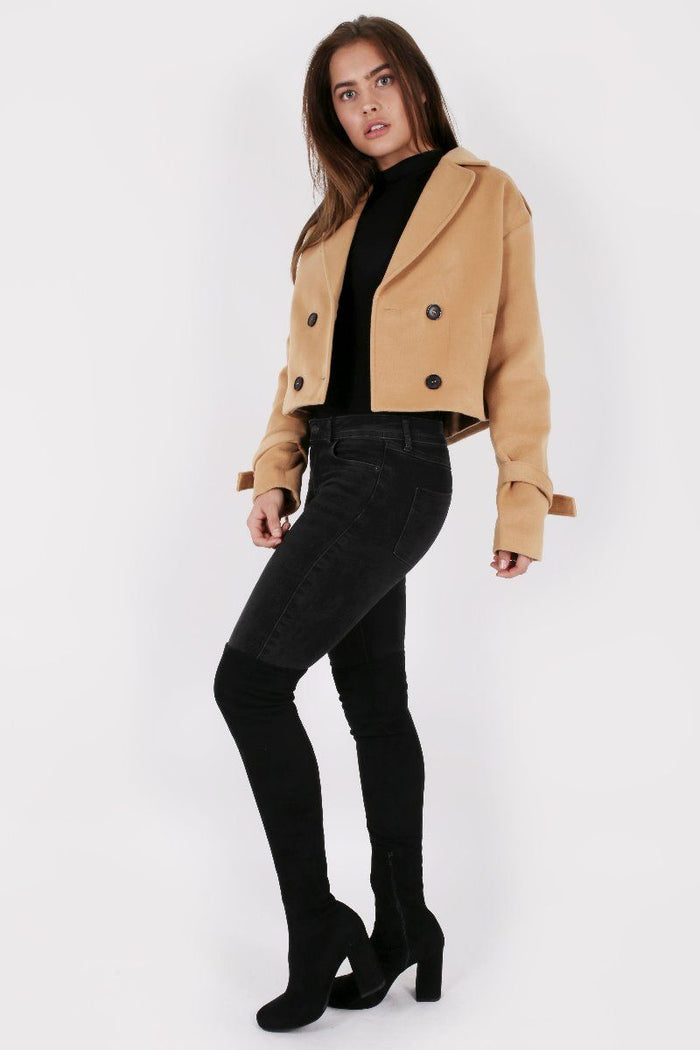 CAMEL CROPPED PEA COAT