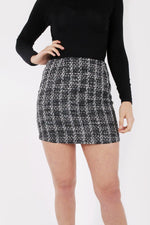 coco tweed black skirt front close view