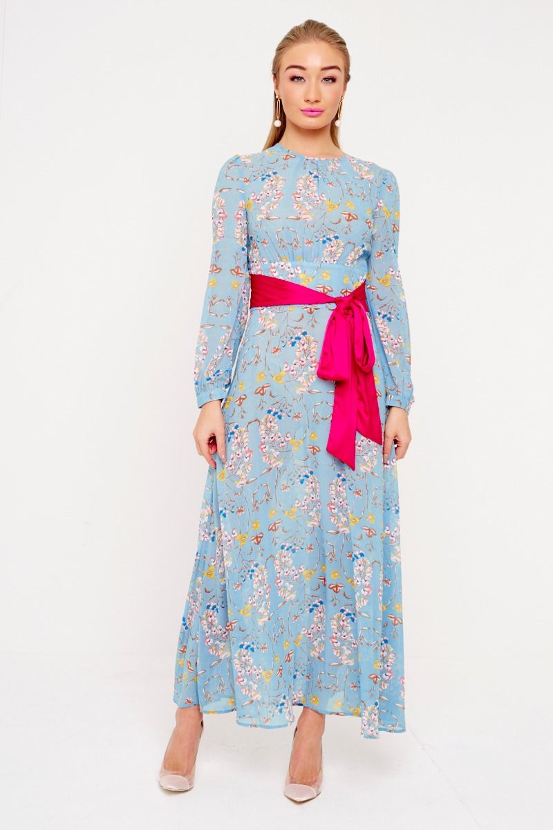 FLORAL DRESS WITH PINK BELT