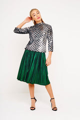 GREEN METALLIC SKIRT