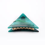 Small Teal Marbled Triangle Hair Claws with Pendant